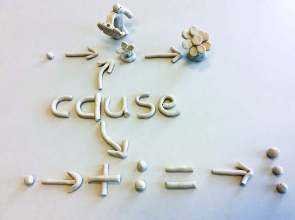 Match Cause shown with clay for dyslexics